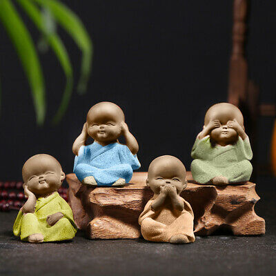 Ornaments Small Monks Figurine Buddha Statue Buddhism Sculptures Tea Pet