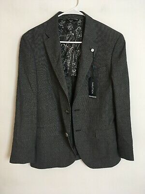 Mens Nautica Gray Active Stretch Blazer Suit Sports Coat Size 38R