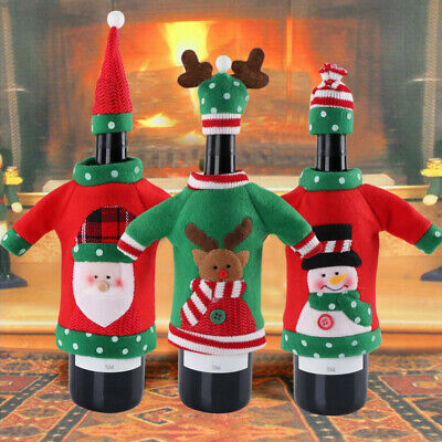 Party Gifts Xmas Elk Unisex Sweater Office Products Red Wine Bags Bottle Cover