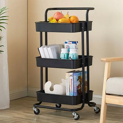 3-Tier Rolling Utility Cart Shelves Storage Trolley Service Cart with Wheels