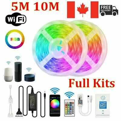 5M/10M 5050 RGB Kit WiFi LED Strip Light Phone Controller Alexa Google Assistant