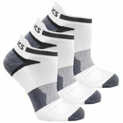 ASICS Quick Lyte Cushion Single Tab 3-Pack  Athletic Running  Socks White - Mens