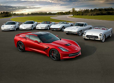 2014 Chevy Corvette C7 BODY STYLE EVOLUTION 24X36 inch poster, sports car,