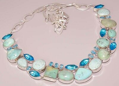 Natural Tibetan Turquoise Blue Topaz Quartz 925 Sterling Silver Plated Necklace