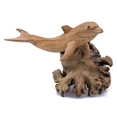 "Unique Hand Carved Dolphin On Parasite Wood Figurine Carving 3.75"" Long New"
