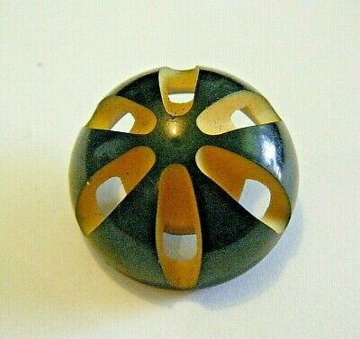 1 art deco  white paste button  with bow design and grooves  set into black celluloid  1  116   or 27 mm  dia 1900s  dia ref 8984