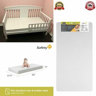 Crib Toddler Mattress Thermo-Bonded Core Waterproof Durable Baby Bed White New