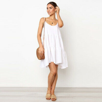 Stylish Beach Holiday Women Sexy Suspenders Sling Casual Backless Bow Dress CZ