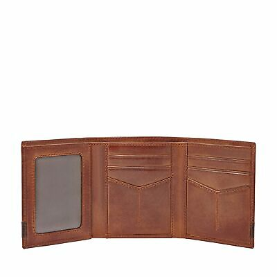 Fossil Quinn Mens Genuine Leather Trifold Wallet w/ ID Window