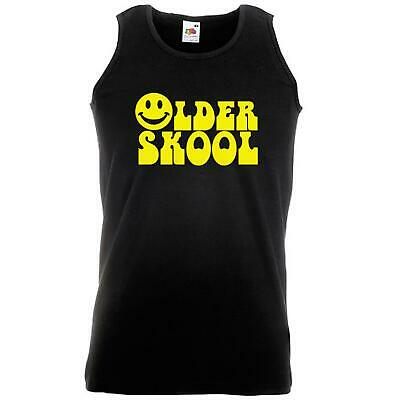 Unisex Black Older Skool Vest Smiley 1970s 70s Rave Old Retro Music Raver