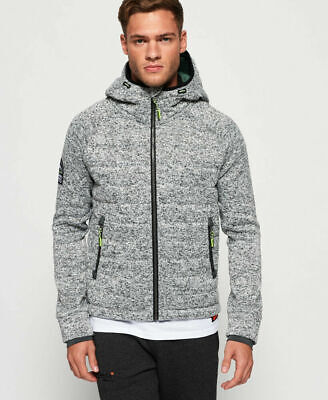 New Mens Superdry Storm Quilted Zip Hoodie Grey Granite Marl