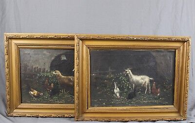 Pair 19th Century Italian School Oil Paintings Farmyard Animals Chickens Sheep