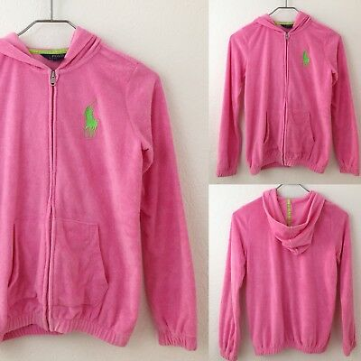 Polo Ralph Lauren Girls Pink Big Pony Terry Cloth Hoodie Jacket Size Large