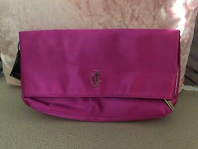 Juicy Couture Hot Pink Clutch, Bag White & Black Striped Lining, Zips NEW w/ Tag