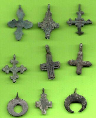 Lot 9 Ancient Viking Enamel Bronze Cross Kiev Russia Ukraine 1100 Byzantine 69