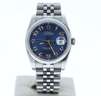ROLEX DATEJUST 36 Watch 116200 Jubilee Band Blue Concentric