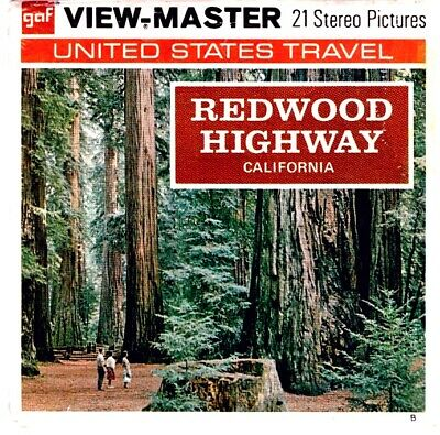 3 VIEW-MASTER 3D Reels📽️REDWOOD HIGHWAY CALIFORNIA,A 182,B-Version,US-Route 101
