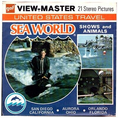 3 VIEW-MASTER 3D Reels📽️SEA WORLD, Shows and Animals, A 208, California+Ohio+FL
