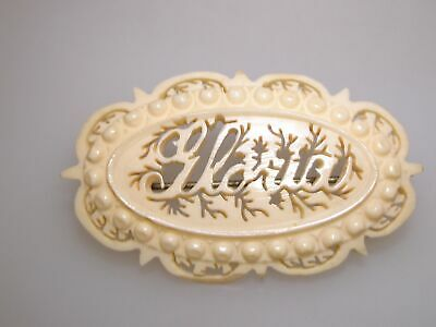 """Lovely Victorian Carved Bovine Bone Name """"Gloria"""" Pin/Brooch Signed Germany!"""