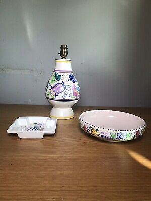 Job Lot Poole Pottery - Hand Painted Birds & Flowers Lamp, Bowl, Ash Tray / Dish