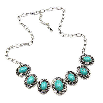 Fashion Charm Gemstone Turquoise 925 Silver Plated  Men Womens Vintage Necklaces