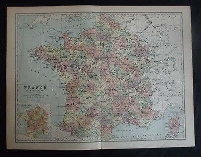 Antique Map: France in Departments by John Bartholomew, 1902, Colour