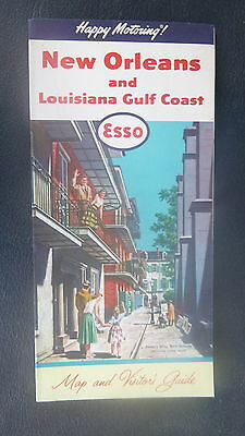 1960 New Orleans street  map Esso oil gas Louisiana Gulf Coast Pirate's Alley