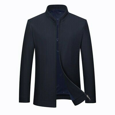Mens Jacket Business Casual Stand-up Collar Long sleeve Coat Zipper Slim fit New