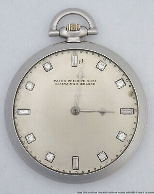 Heavy Patek Philippe 62.3g Diamond Art Deco Mens 1930s Pocket Watch Orig Case