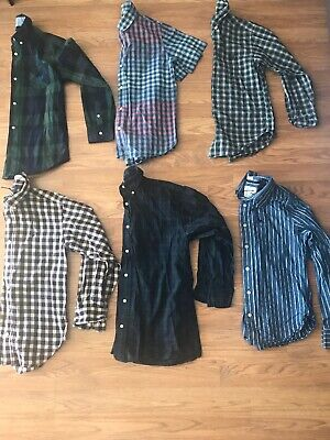 Boys 10-12 lot Of 6 Button Down Shirts  RALPH LAUREN CHAPS ABERCROMBIE GAP