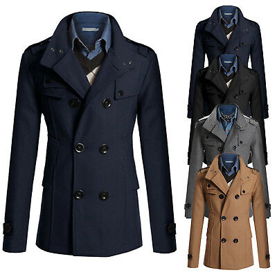 Men Winter Warm Trench Coat Reefer Thick Jackets Double Breasted Casual Peacoat
