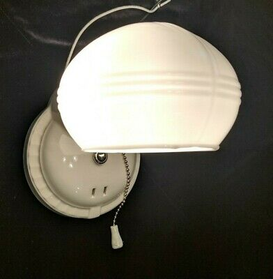 Vintage 1930's Art Deco Porcelain PORCELIER Bath Wall Sconce Light,  Rewired