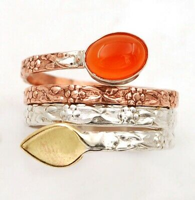 Three Tone- Natural Carnelian 925 Solid Sterling Silver Ring Jewelry Sz 7 C27-9