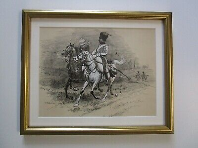 Charles Morel 19Th Century Drawing Painting Original Military Soldiers Antique
