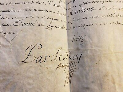 King Louis Xv Signature On Captain's Commission In The Regiment Of Souvre - 1734