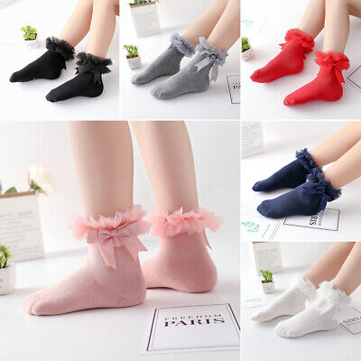 Kids Baby Cute Frilly Bow Lace Tutu Socks Infant Newborn Toddler Ankle Socks~