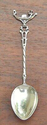 800 European Silver Demitasse Souvenir Spoon Gondola Decorated Handle