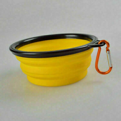 Travel Collapsible Silicone Foldable Pet Cat Dog bowl Food Water yellow Bowl