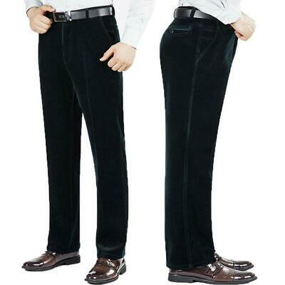 New Mens Corduroy Cord Stretch Straight Pants Casual High Waist Trousers #8_22