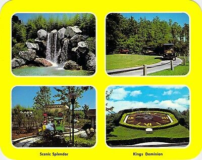 postcard 5.25x6.75 CARS TRAIN CLOCK Multi-View Kings Dominion VA Amusement Park