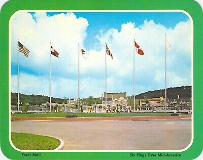 postcard 5.25x6.75 FRONT MALL ~ Six Flags Over Mid-America, MO Amusement Park