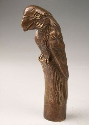 Rare China Bronze Hand-Carved Parrot Statue Walking Stick Old Collection