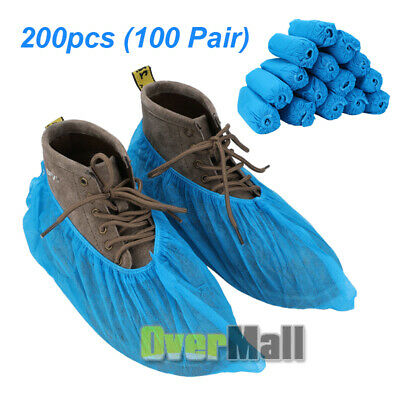 200x Disposable Boot & Shoe Covers Non-Slip/Water Resistant/ Large Up To Size 11