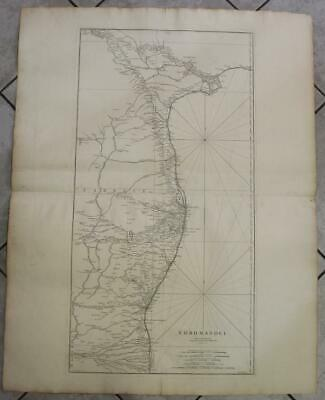 Coromandel India 1753 D'anville Wall Two Sheets Antique Copper Engraved Map