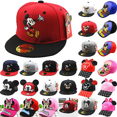 Kids Girls Boys  Minnie Mickey Mouse Baseball Summer Hats Caps Sun Hat Snapback