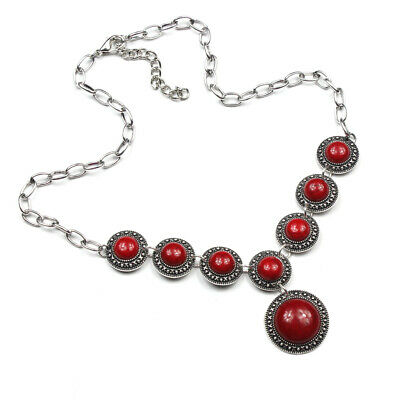 Style Charm Gemstone Turquoise 925 Silver Plated Men Womens Vintage Necklaces