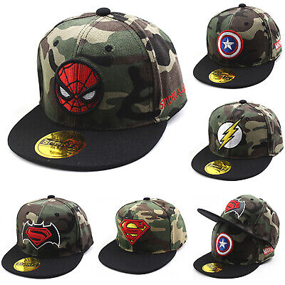 Boys Child Camouflage Spiderman Superman Baseball Cap Kids Snapback Hip Hop Hat