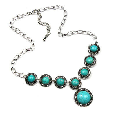 Vintage Charm Gemstone Turquoise 925 Silver Plated Men Womens Necklaces Style