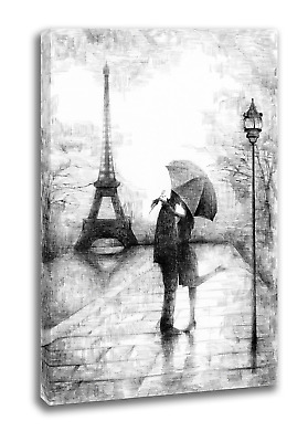 Intalence Art Unique Eiffel Tower Wall Art, Premium Romantic Paris Canvas Print