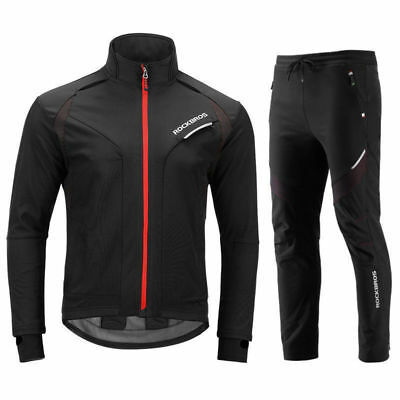 RockBros Winter Cycling Jacket Thermal Windproof Suit Outdoor Jersey&Pants set
